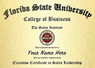 Certificate of Business Leadership Awarded by the Florida State University College of Business