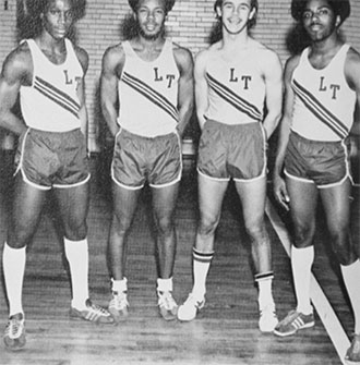 Kevin Newell, Dennis Kern, Timothy Klien and Loouis Carr made up the national record breaking mile relay team.